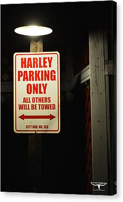Harley Parking Only Canvas Print by Tommy Anderson