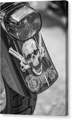 Harley Skull And Taillight  Canvas Print by John McGraw