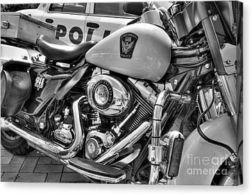 Police Officer Canvas Print - Harleys In Cincinnati 2 Bw by Mel Steinhauer