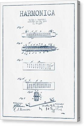 Harmonica Patent Drawing From 1897  - Blue Ink Canvas Print by Aged Pixel