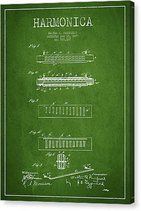 Harmonica Patent Drawing From 1897 - Green Canvas Print by Aged Pixel