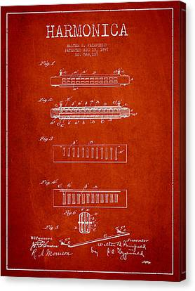 Harmonica Patent Drawing From 1897 - Red Canvas Print by Aged Pixel