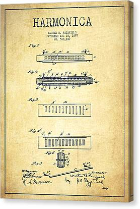 Harmonica Patent Drawing From 1897 - Vintage Canvas Print by Aged Pixel