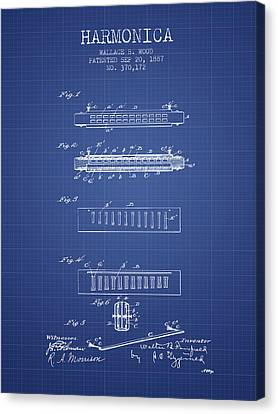 Harmonica Patent From 1897 - Blueprint Canvas Print by Aged Pixel