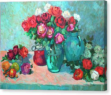 Harmony In Red Roses Canvas Print by Diane McClary