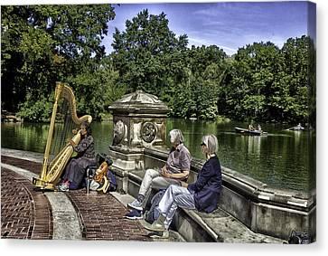 Harpist - Central Park Canvas Print by Madeline Ellis