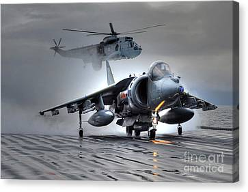 Harrier Gr9 Takes Off From Hms Ark Royal For The Very Last Time Canvas Print by Paul Fearn