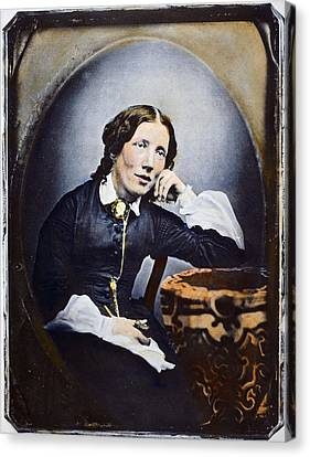 Harriet Beecher Stowe (1811-1896). American Abolitionist And Writer. Oil Over A Daguerrotype, C1852 Canvas Print by Granger