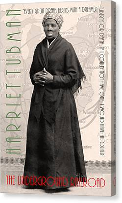 Harriet Tubman The Underground Railroad 20140210v2 With Text Sepia Canvas Print by Wingsdomain Art and Photography
