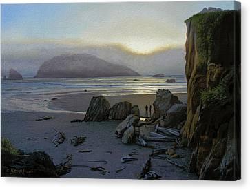 Harris Beach Rendezvous Canvas Print by Paul Krapf