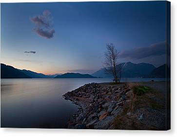 Harrison Lake Bc Canada At Twilight Canvas Print