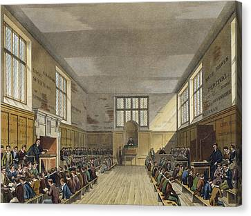 Harrow School Room From History Canvas Print by Augustus Charles Pugin