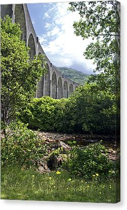 Canvas Print featuring the photograph Harry Potters Glenfinnan Viaduct Scotland by Sally Ross
