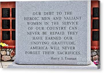 Harry S Truman Quote Memorial Canvas Print