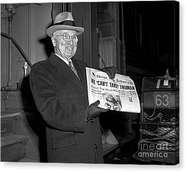 Canvas Print featuring the photograph Harry Truman 1959 by Martin Konopacki Restoration