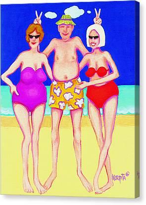 Funny Beach Women Man  Canvas Print