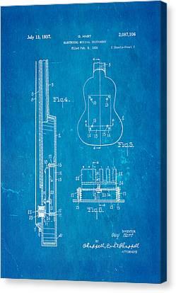 Hart Gibson First Electric Guitar 2 Patent Art 1937 Blueprint Canvas Print by Ian Monk