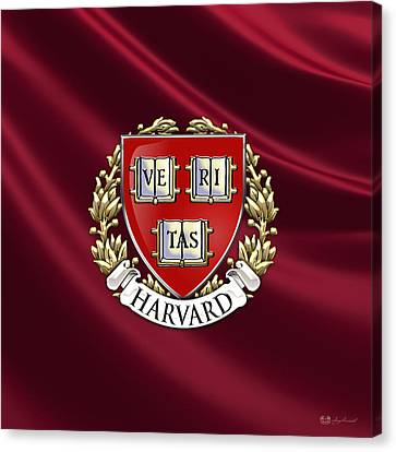 Harvard University Seal - Coat Of Arms Over Colours Canvas Print by Serge Averbukh