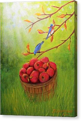 Harvest Apples And Bluebirds Canvas Print by Janet Greer Sammons