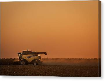 Canvas Print featuring the photograph Harvest At Sunset by Dawn Romine