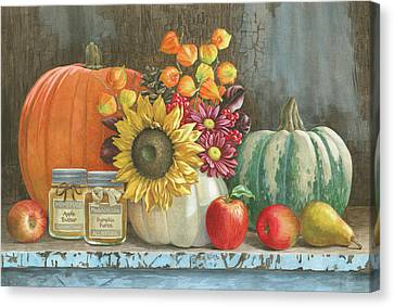 Harvest Bench Canvas Print by Beth Grove