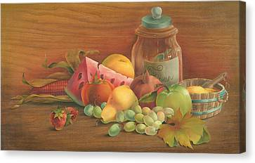 Canvas Print featuring the painting Harvest Fruit by Doreta Y Boyd