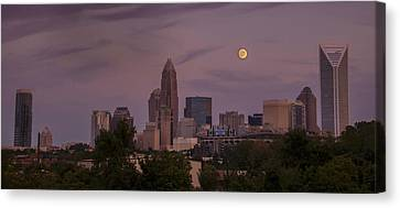 Canvas Print featuring the photograph Harvest Moon Over Charlotte by Serge Skiba