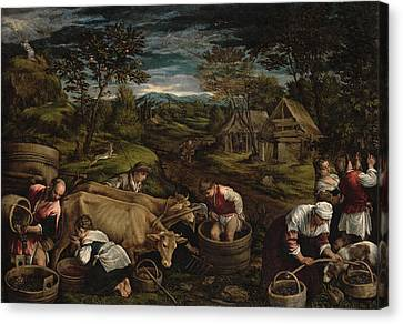 Harvest, Moses Receives The Ten Commandments, 1576 For Detail See 65690 Canvas Print