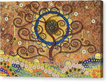 Canvas Print featuring the tapestry - textile Harvest Swirl Tree by Kim Prowse