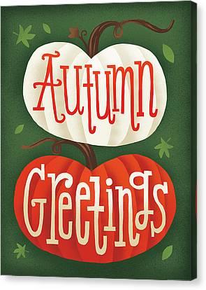 Harvest Time Autumn Greetings Pumpkins Canvas Print by Michael Mullan