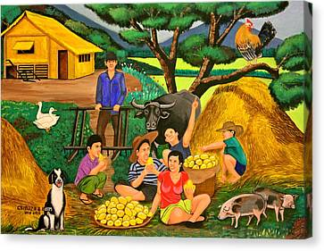 Bamboo House Canvas Print - Harvest Time by Lorna Maza