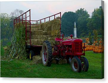Harvest Time Tractor Canvas Print by Bill Cannon