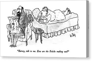 Forlorn Canvas Print - Harvey, Talk To Me.  How Are The Knicks Making by William Steig