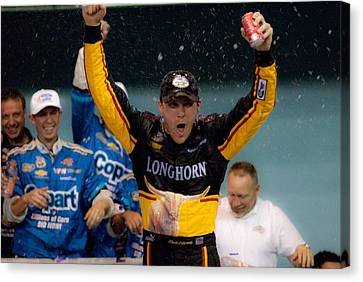 Harvick Wins Canvas Print by Kevin Cable