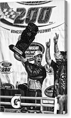 Harvick Wins Trophy  Canvas Print by Kevin Cable