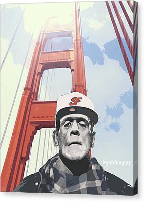 Dracula Canvas Print - Hashtag Goldengate Frankie's Selfie by Filippo B