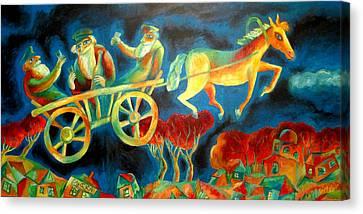 Hasidishe Journey To Rebbe  Canvas Print by  Leon Zernitsky