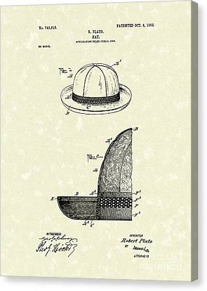 Hat 1903 Patent Art Canvas Print by Prior Art Design