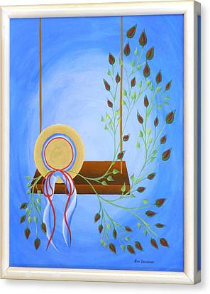 Canvas Print featuring the painting Hat On A Swing by Ron Davidson