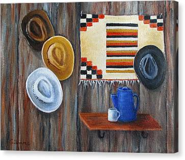 Canvas Print featuring the painting Hats by Roseann Gilmore