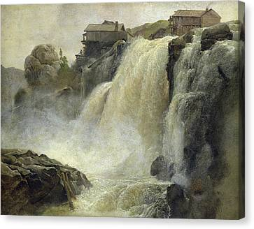 Haugfoss In Norway Canvas Print by Christian Ernst Bernhard Morgenstern