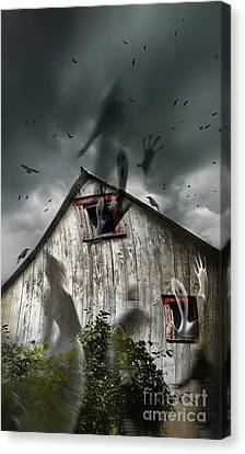 Haunted Barn With Ghosts Flying And Dark Skies Canvas Print by Sandra Cunningham