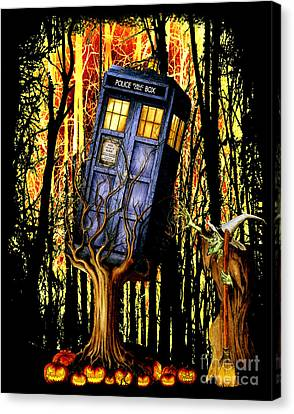 Haunted Blue Phone Box Captured By Witch Canvas Print by Three Second
