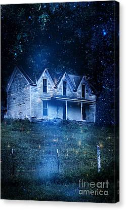 Side Porch Canvas Print - Haunted House At Night by Stephanie Frey