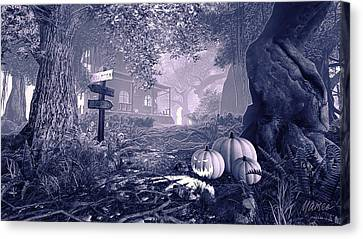 Haunted House Bw Canvas Print