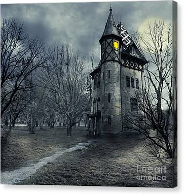 Ghost Canvas Print - Haunted House by Jelena Jovanovic