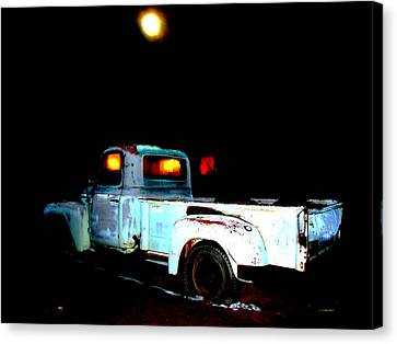Canvas Print featuring the digital art Haunted Truck by Cathy Anderson