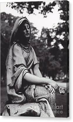 Haunting Cemetery Female Mourner Sitting On Grave Canvas Print by Kathy Fornal
