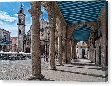 Havana Cathedral And Porches. Cuba Canvas Print by Juan Carlos Ferro Duque