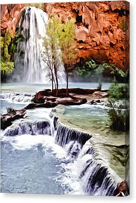 Havasau Falls Painting Canvas Print by Bob and Nadine Johnston